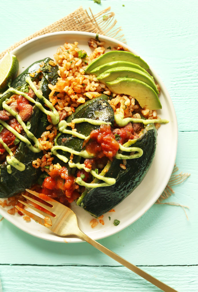 Vegan stuffed poblano peppers Bhg recipes may 2016